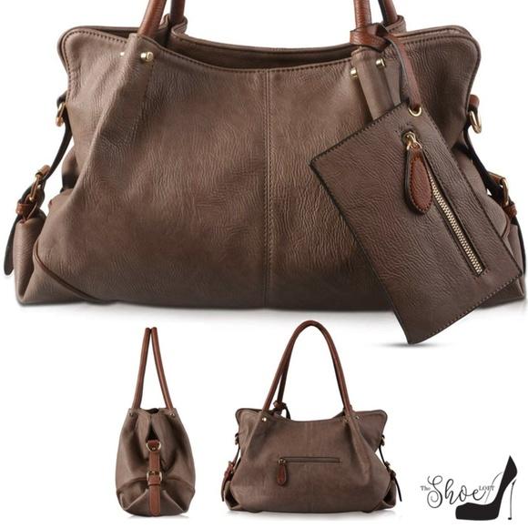 "My Bag Lady Online Handbags - ""Brenda"" Large Hobo Satchel in Mocha (3 pc Set)"